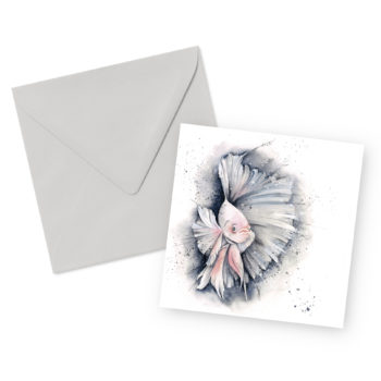 Betta Fish Square Greetings Card and Envelope