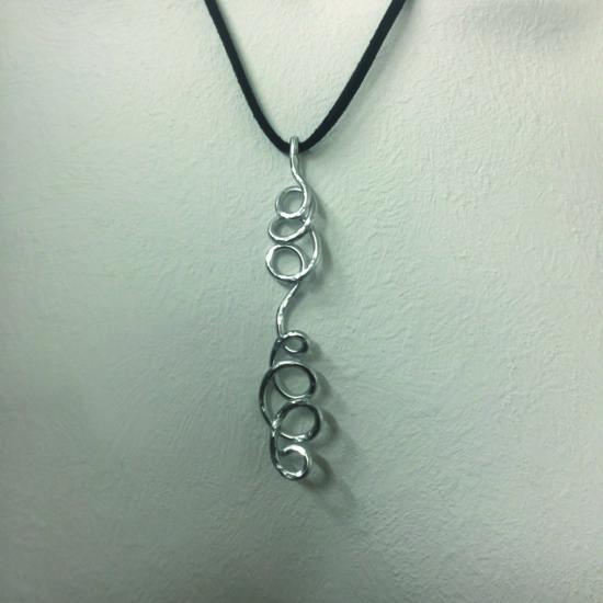 Aluminium on black cord necklace