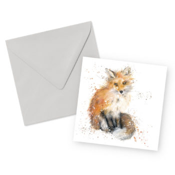 Fox Square Greetings Card and Envelope