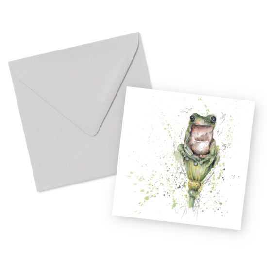Green Frog Square Greetings Card and Envelope