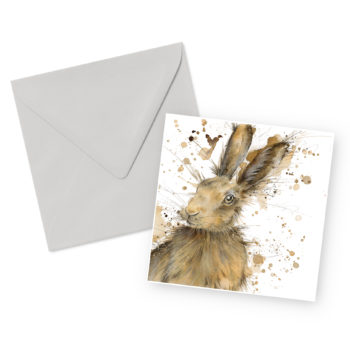 Brown Hare Square Greetings Card and Envelope