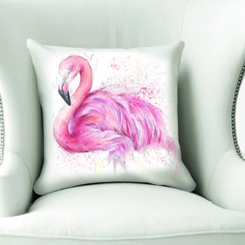 Pink Flamingo Cushion by Beverley Fisher on a chair