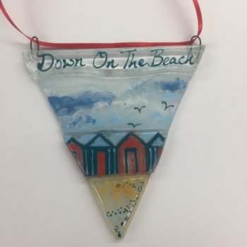 Down on the Beach Glass Bunting Decoration by Christine Jeffryes