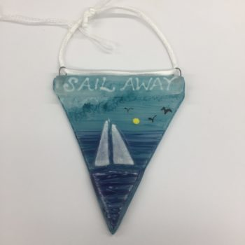 Sail Away Glass Bunting Decoration by Christine Jeffryes