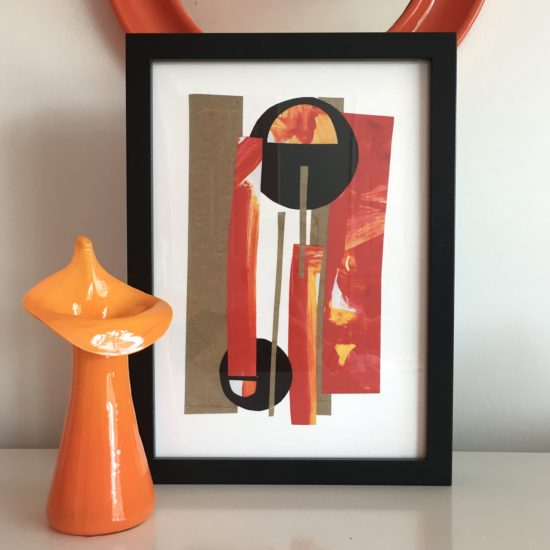 Sunset collage giclee print - framed example