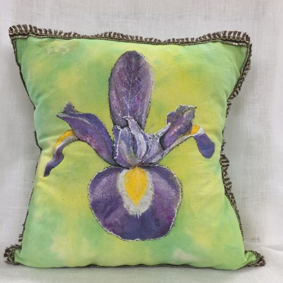 View of Iris Cushion Cover with pad inside