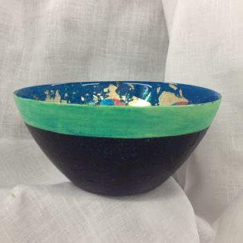 Medium Hand painted glass bowl by Eve Stickler