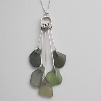 Sea Glass and Sterling Silver and Sea Glass Necklace by Jane Martin