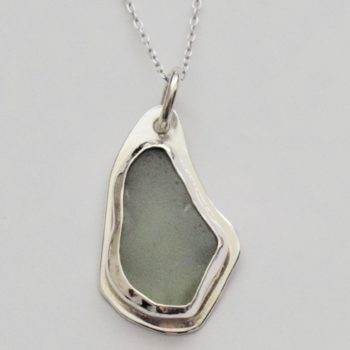 Sterling Silver and Sea Glass Pendant on Chain by Jane Martin