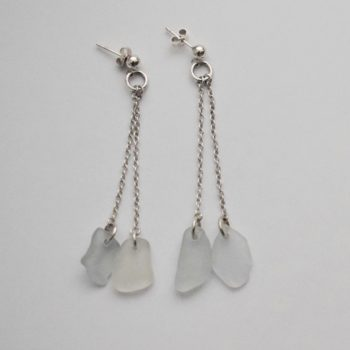 Sterling Silver Earrings and Sea Glass by Jane Martin