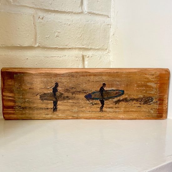 Two Surfers - Image transfer on hardwood by Karen Keen Young