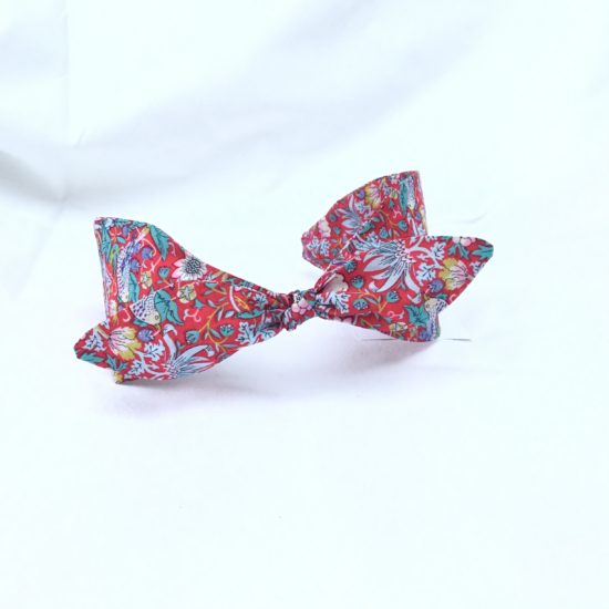 Liberty Strawberry Thief Red Print Headband with Bow by Jo Weeks
