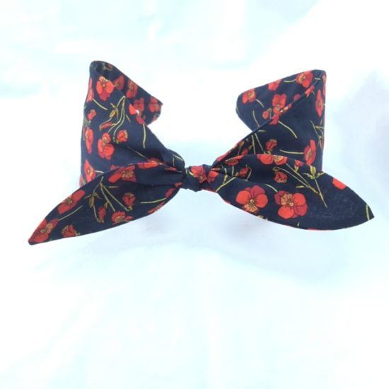 Liberty Ros Navy and Red Headband with small bow by Jo Weeks