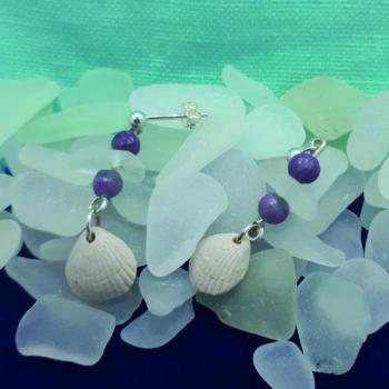 Ceramic, Sea Glass and Gemstone Dangle Earrings by Jessica Newby
