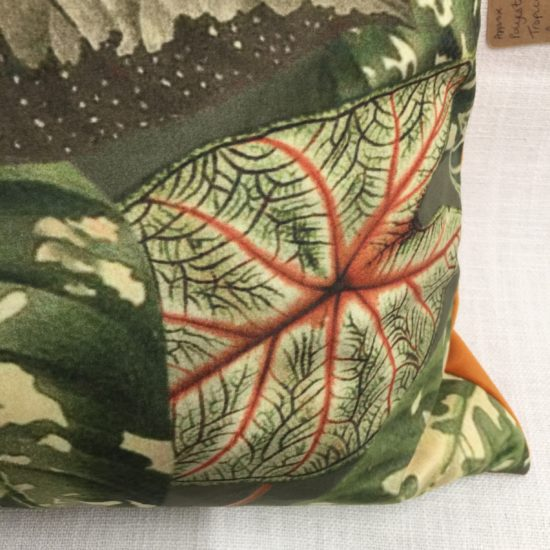Tropical Leaves 1 cushion by Linda Rendle