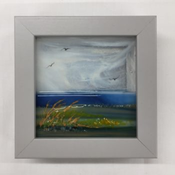 Autumn Hues fused glass mini framed picture by Celine Libera