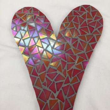 Pink Red Mosaic Heart by Lorraine Kinnear