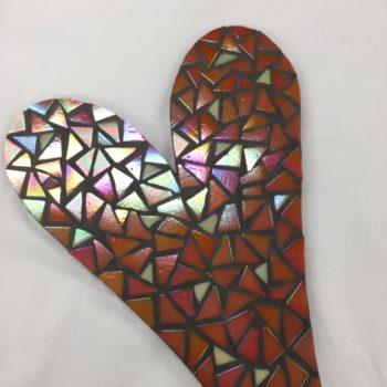 Orange Mosaic Heart by Lorraine Kinnear