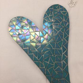 Aqua Blue Mosaic Heart by Lorraine Kinnear