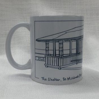 St Mildreds Bay Shelter China Mug