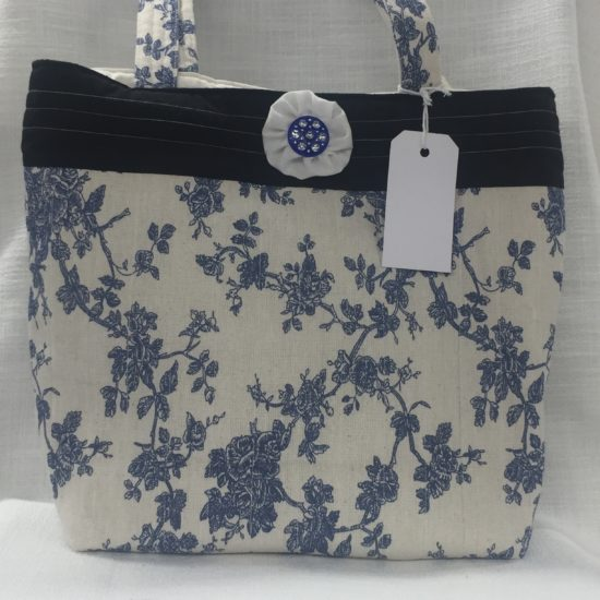 Blue Toile Tote Bag by Sybil Anderson