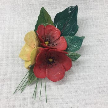 Red and yellow Papier-mâché Brooch by Jan Cooper