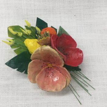 Red and Peach Papier-mâché Brooch by Jan Cooper