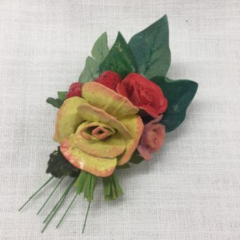 Red, Yellow and Peach Papier-mâché Brooch by Jan Cooper