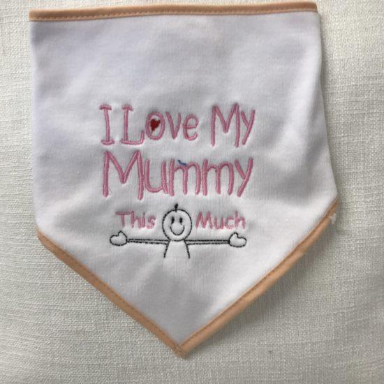 "Baby's Bib - ""I love my mummy this much"" by Dee Nolan"