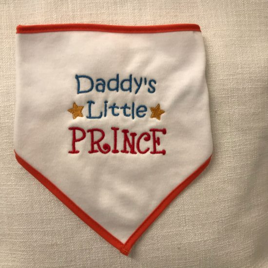 "Baby's Bib - ""Daddy's Little Prince"" by Dee Nolan"