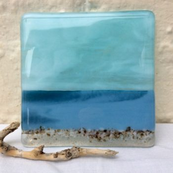 View across the channel large glass coaster by Celine Libera