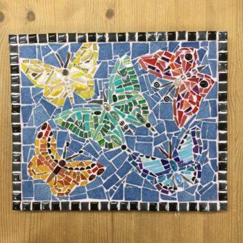 Blue Butterflies Mosaic Wall Hanging
