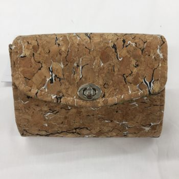 Small cork purse with black and white flecks by Sarah Bowles