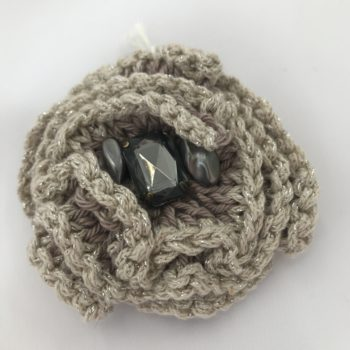 Mocha and Cream brooch with bead embellishment by Christine Kolinsky
