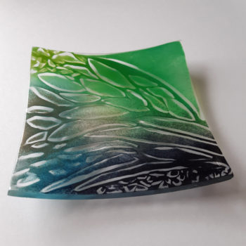 Fern Glade glass shallow dish by Christine Jeffryes
