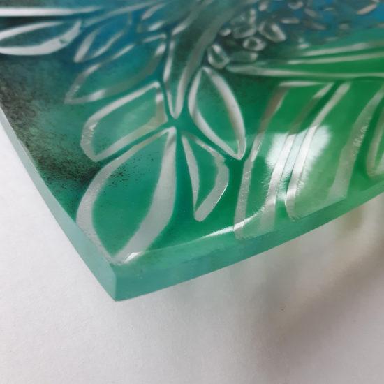 Fern Glade glass shallow dish by Christine Jeffryes
