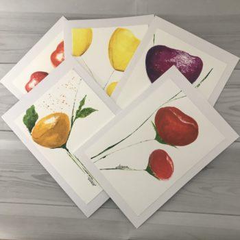 4 handprinted cards by Serena Salvatore