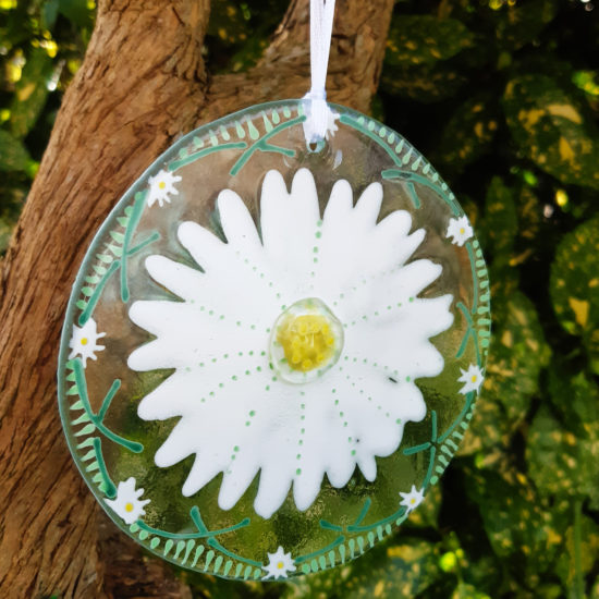 Glass Hanging Daisy by Christine Jeffryes
