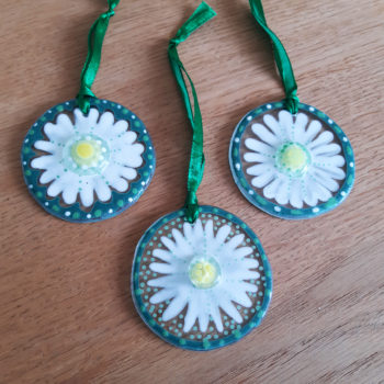 Set of three glass hanging daisies by Christine Jeffryes