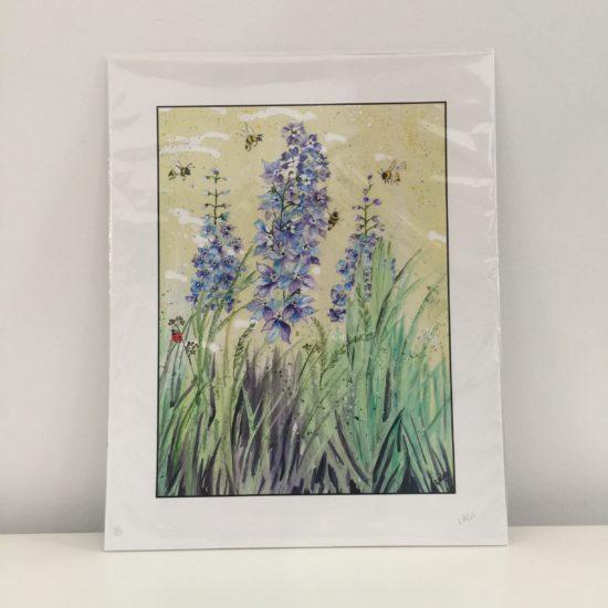 Blue Delphiniums by Geraldine Alfeo