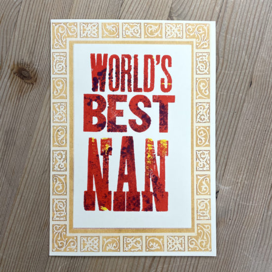 World's Best Nan Greetings Card by David Wadmore