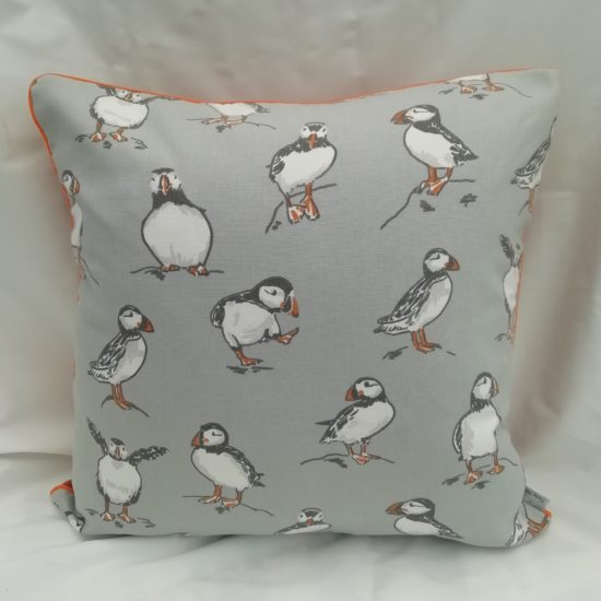 Puffin Print Piped Cushion by Linda Rendle