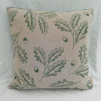 Green Oak Leaf and Acorn block print cushion by Linda Rendle