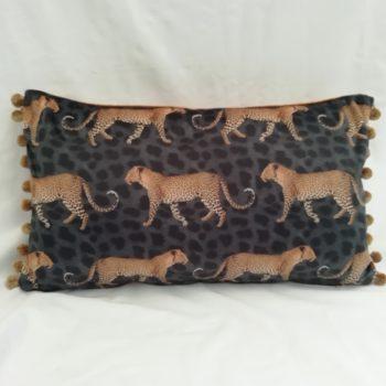 Pacing Leopard velvet cushion by Linda Rendle